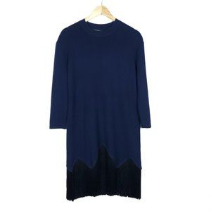 Timo Weiland Navy Black Fringe Sweater Knit Dress